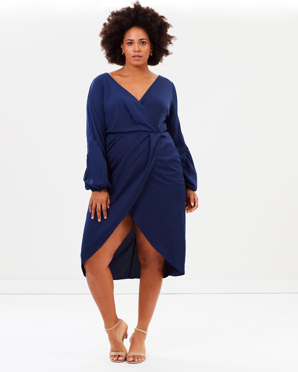 Cooper St CS CURVY Drape Dress Dresses Navy CS CURVY Drape Dress