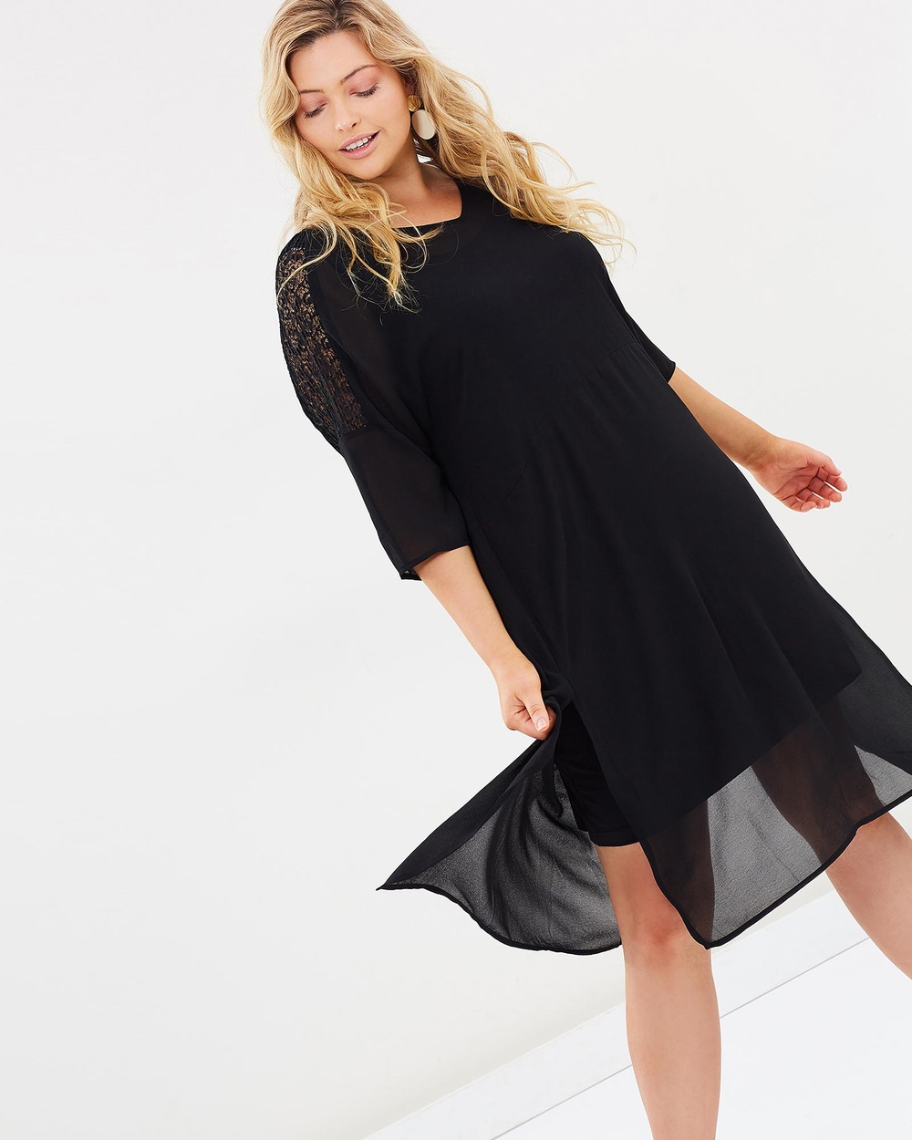 Advocado Plus Panelled Layering Dress Dresses Black Panelled Layering Dress