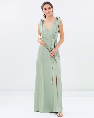 Atmos & Here – Amelie V Neck Maxi Dress – Bridesmaid Dresses (Sage Green)