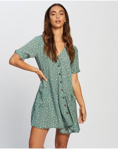Missguided Button Thru Smock Dress Sage