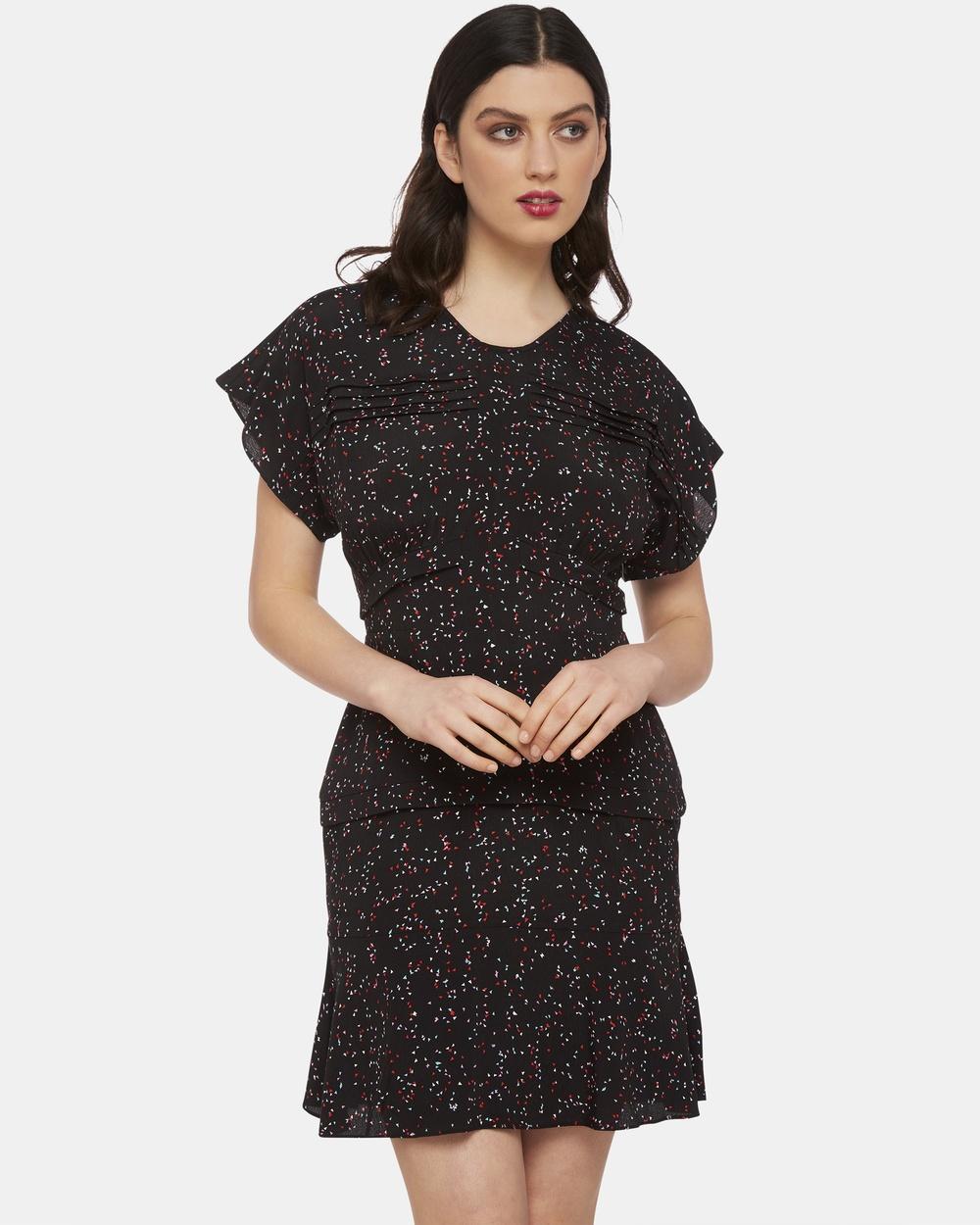 Oxford Black Ava Printed Pintuck Dress
