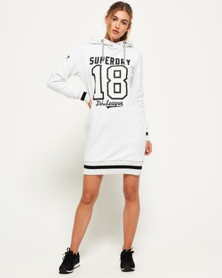 Superdry – Tri League Slouch Hood Dress Tri Light Grey Marl