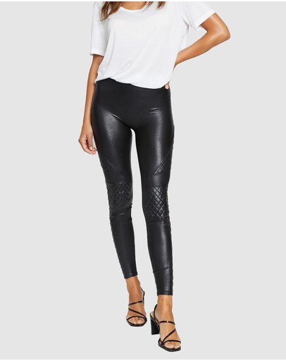 Spanx Quilted Faux Leather Leggings Very Black
