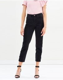 Lost Ink - High-Waist Straight Lace Jeans