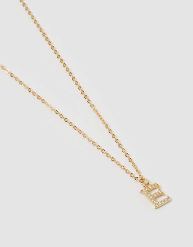 Women Crystal Letter E Necklace Gold