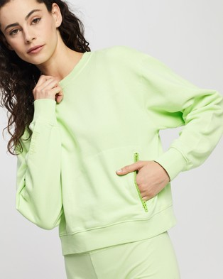 Les Girls Les Boys Shrunken Crew Neck With Zip Pocket - Jumpers (Paradise Green)
