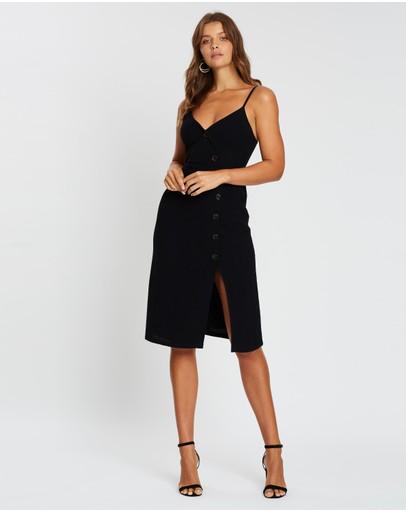Atmos&here Asymmetric Button Dress Black