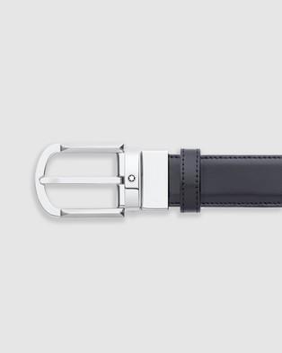 Montblanc Revolving Rounded Horseshoe Shiny Palladium Coated Pin Buckle Belt - Belts (Black)