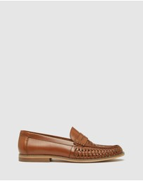 Oxford - Bert Leather Woven Slip On Shoes