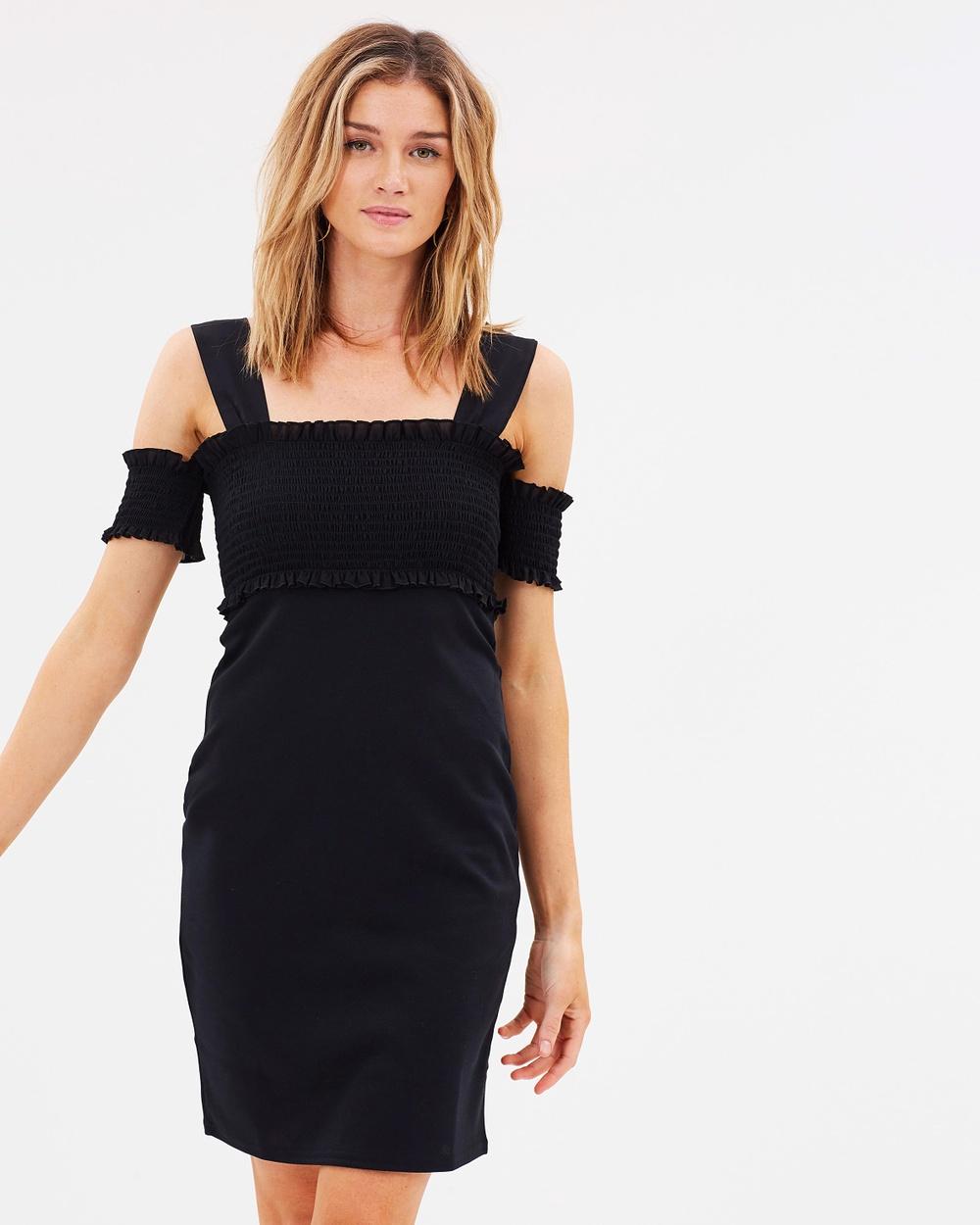 Lost Ink Shirred Top Body Con Mini Dress Bodycon Dresses Black Shirred Top Body-Con Mini Dress