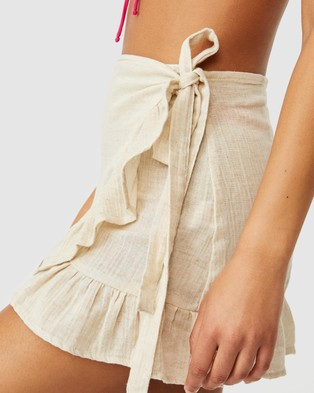 Cotton On Body Ruffle Wrap Beach Skirt - One-Piece / Swimsuit (Natural)