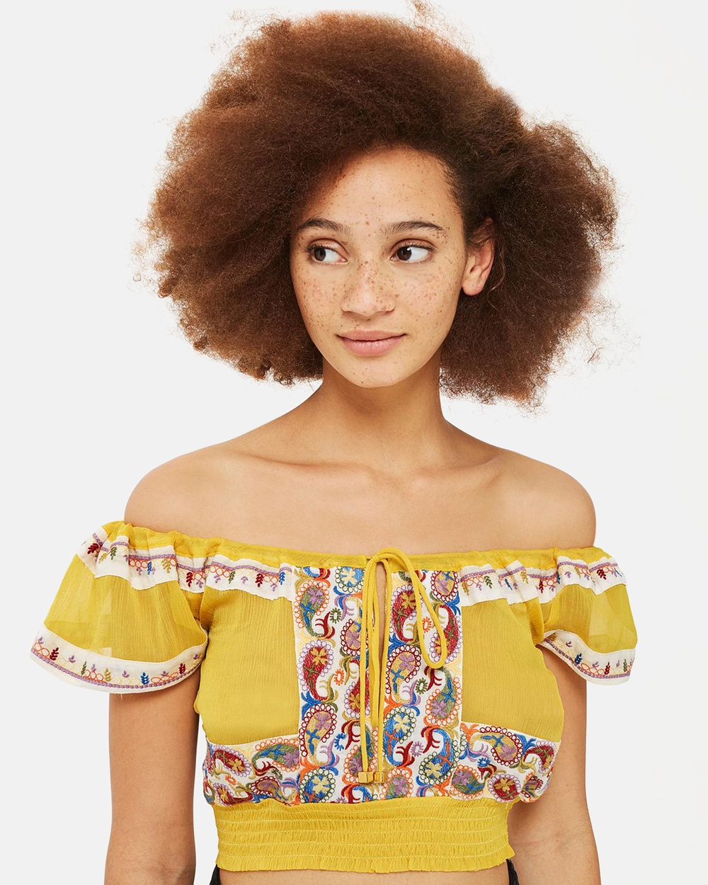 TOPSHOP Embroidered Crinkle Bardot Top Cropped tops Lime Chartreuse Embroidered Crinkle Bardot Top