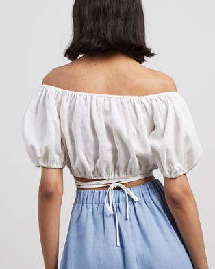 AERE Off Shoulder Wrap Top - Cropped tops (White)