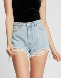 Missguided - Extreme Rip High-Waisted Shorts