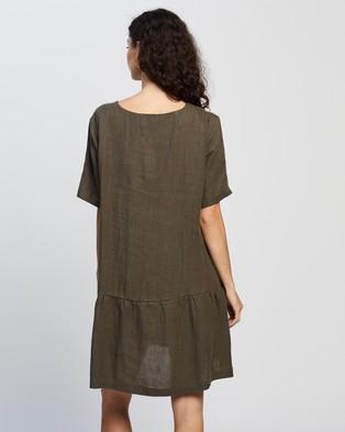 AERE Casual Linen Dress - Dresses (Khaki)