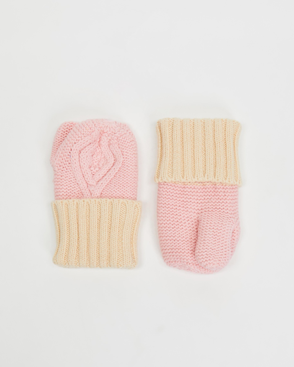 Acorn Kids Cable Knit Mittens Babies Pink & Cream Babies-Kids