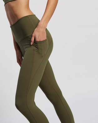 AVE Activewoman Side Pocket Full Length Leggings - all compression (Olive)