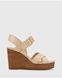 Wittner - Vivia Leather Crossed Strap Open Toe Wedges