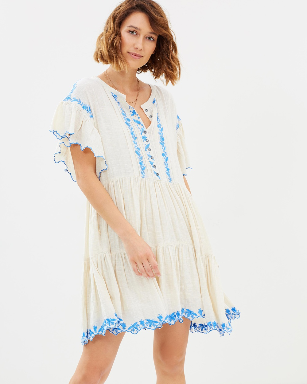 Free People Santiago Embroidered Mini Dress Dresses Ivory Santiago Embroidered Mini Dress