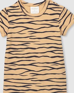 Milky Tiger Stripe Romper   Babies - Shortsleeve Rompers (Latte)