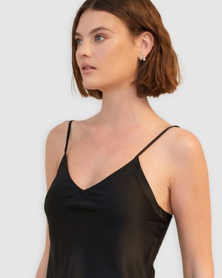 GINIA Silk V Neck Camisole - Sleepwear (Black)
