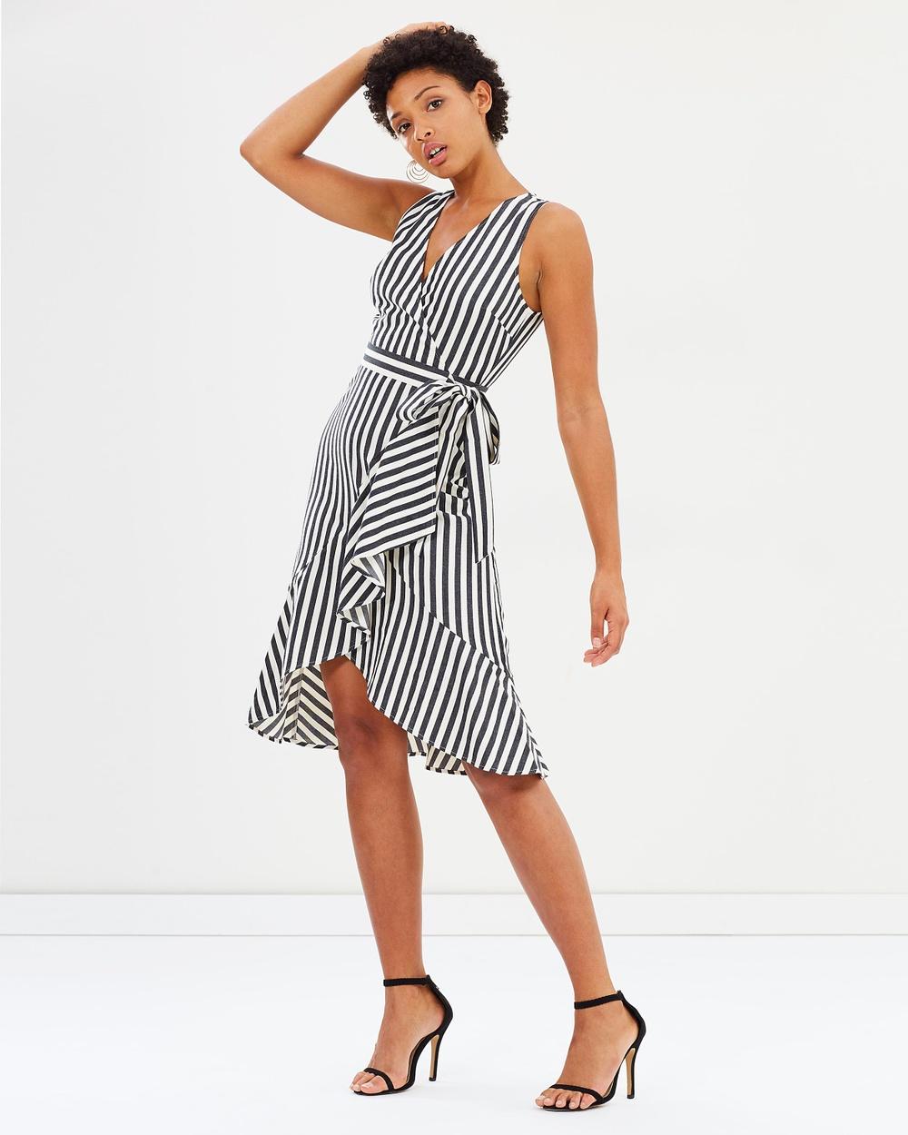 Warehouse Cotton Stripe Wrap Dress Dresses Grey & White Cotton Stripe Wrap Dress