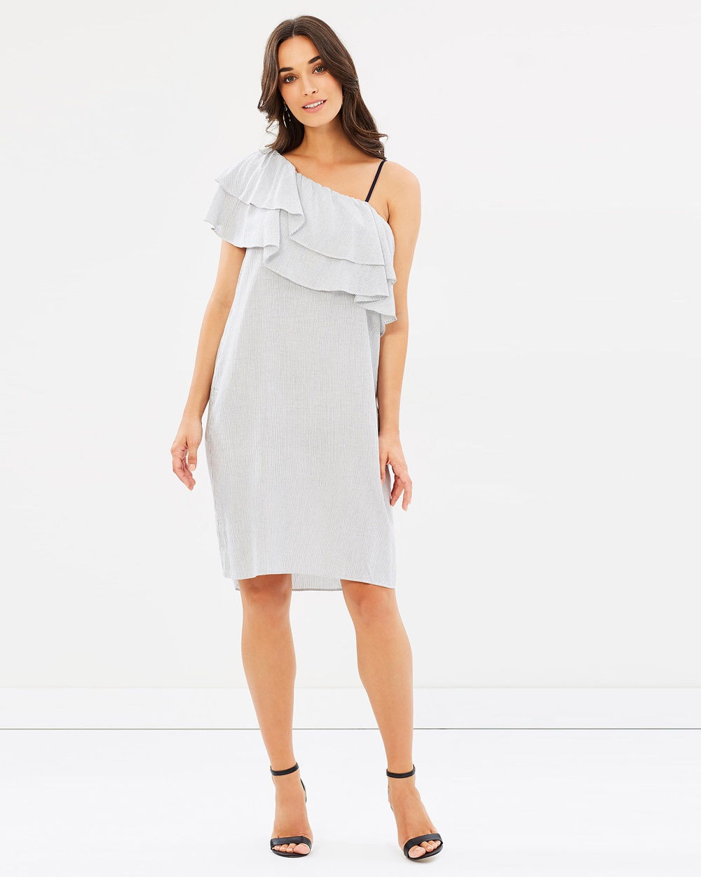 Wite Mini Stripe Ruffle Dress Dresses Stripe Mini Stripe Ruffle Dress