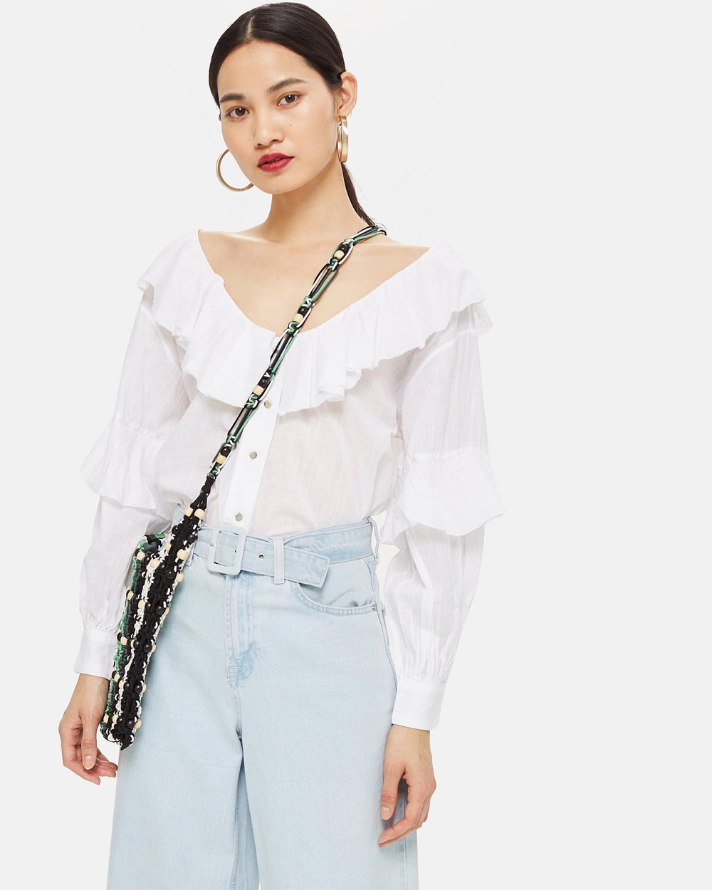 TOPSHOP Ruffle Down Button Blouse Tops Ivory Ruffle Down Button Blouse