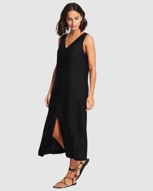Seafolly Essential Linen Midi Dress - Swimwear (Black)