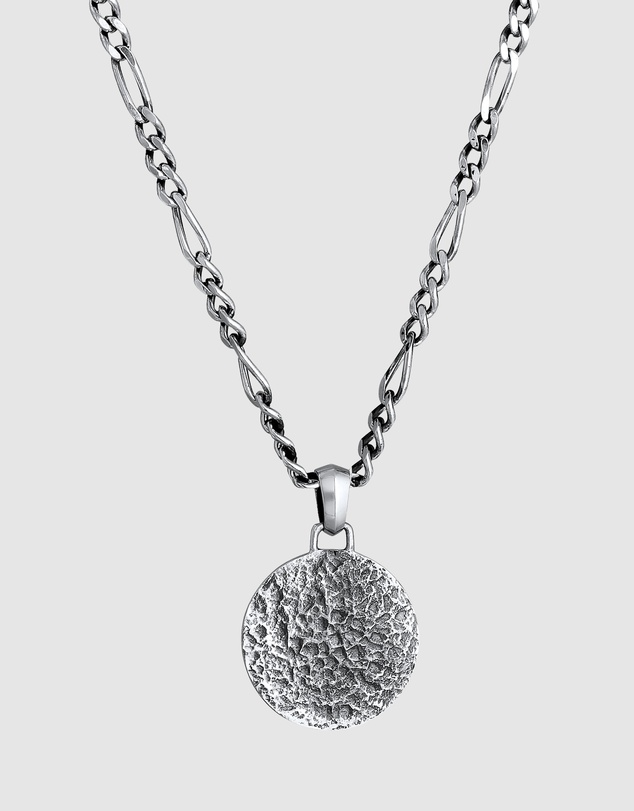 Men Necklace Men Figaro Coin Pendant Textured Oxidised in 925 Sterling Silver