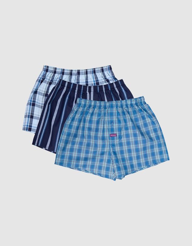 Men Men's Classic Mixed Yarn Dyed Cotton Woven Boxer Shorts 3 Pack - MULTI