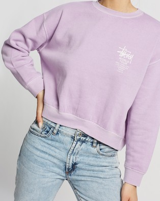 Stussy World Tour Pigment Crew - Sweats (Lilac)