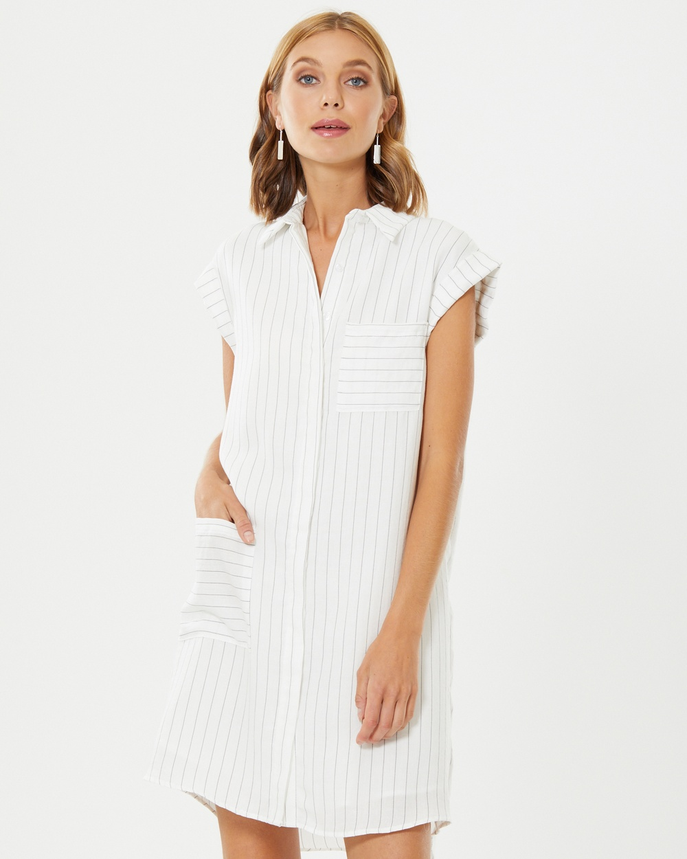 Calli Willa Pleat Back Dress Dresses White W- Black Stripe Willa Pleat Back Dress