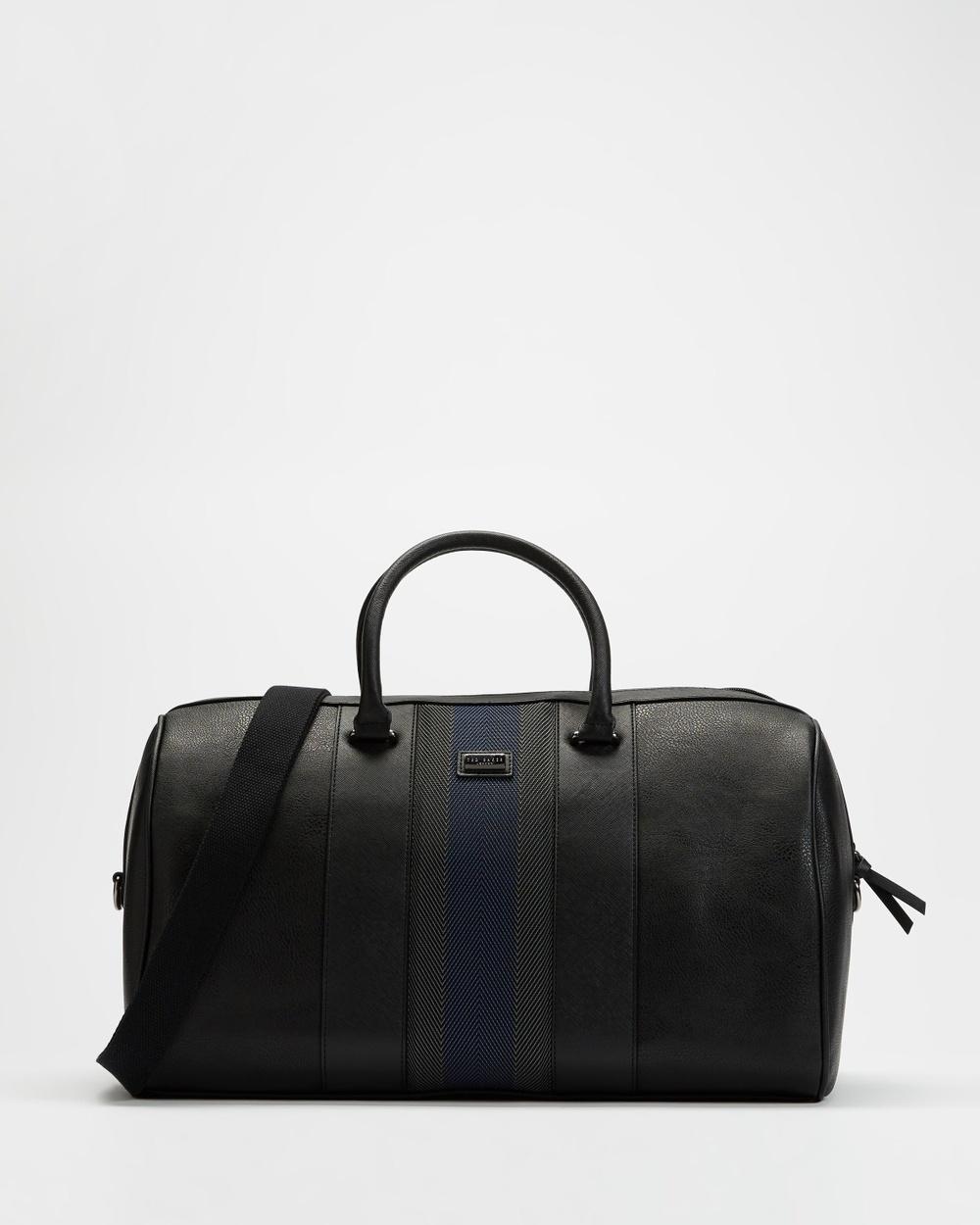Ted Baker Beaner Stripe Weekend Holdall Duffle Bags Black