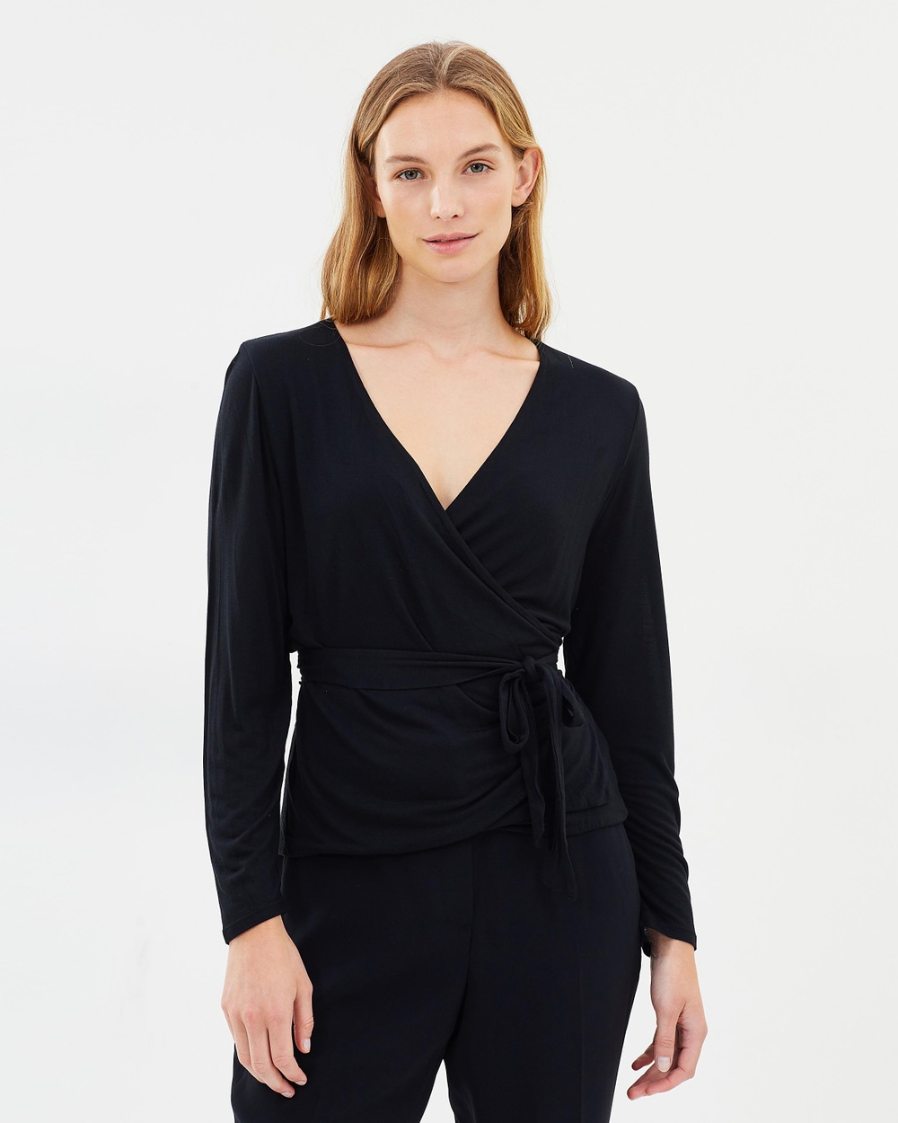 J.Crew Wrap and Tie Top Tops Black Wrap and Tie Top