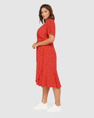 Forever New Curve - Clementine Curve Wrap Midi Dress - Dresses (Scarlet Clustered Spot) Clementine Curve Wrap Midi Dress
