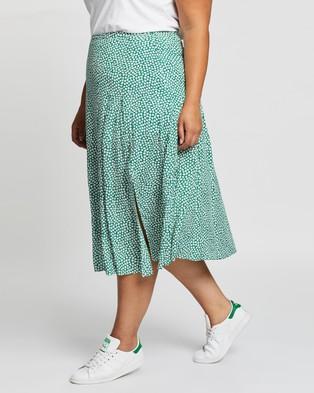Atmos&Here Curvy Esma Midi Skirt - Skirts (Green Floral)