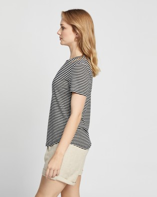 Staple the Label Avalon Linen Tee - T-Shirts & Singlets (Black & White Stripe)