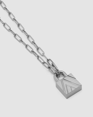 Northskull Chevron Padlock Chain Necklace - Jewellery (Silver)