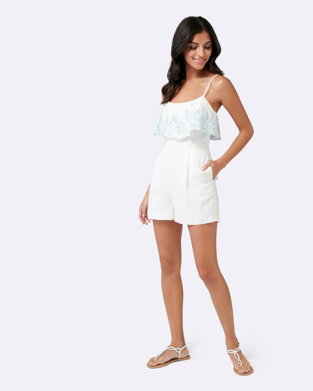 6d7aeb1084 Emma Embroidered Linen Playsuit by Forever New Online