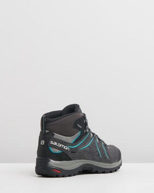 Salomon Ellipse 2 Mid Leather GTX Boots   Women's - Outdoor Shoes (Phantom, Castor Grey & Aruba Blue)