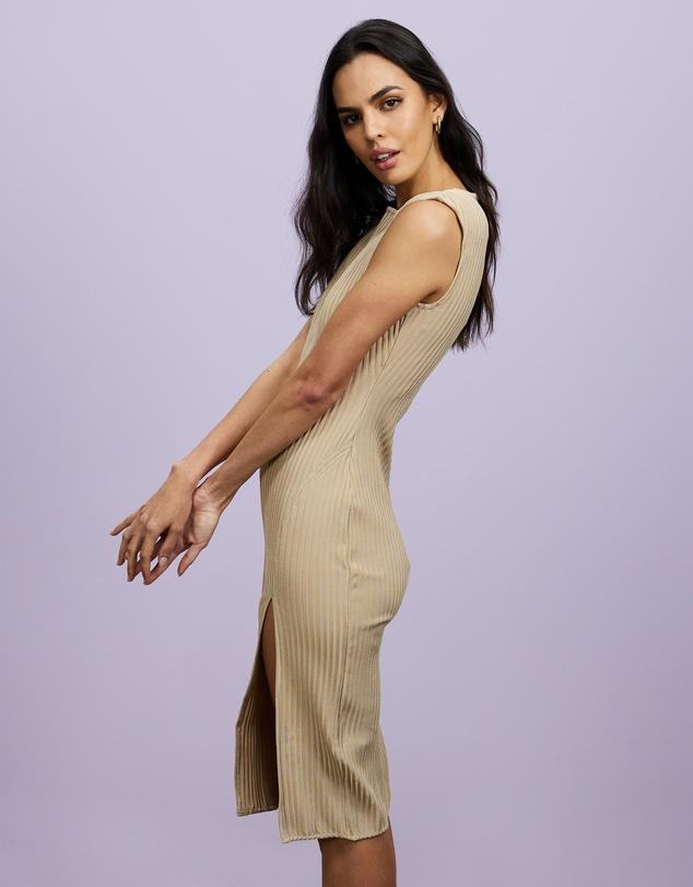 Women Cord Midaxi Side Split Dress