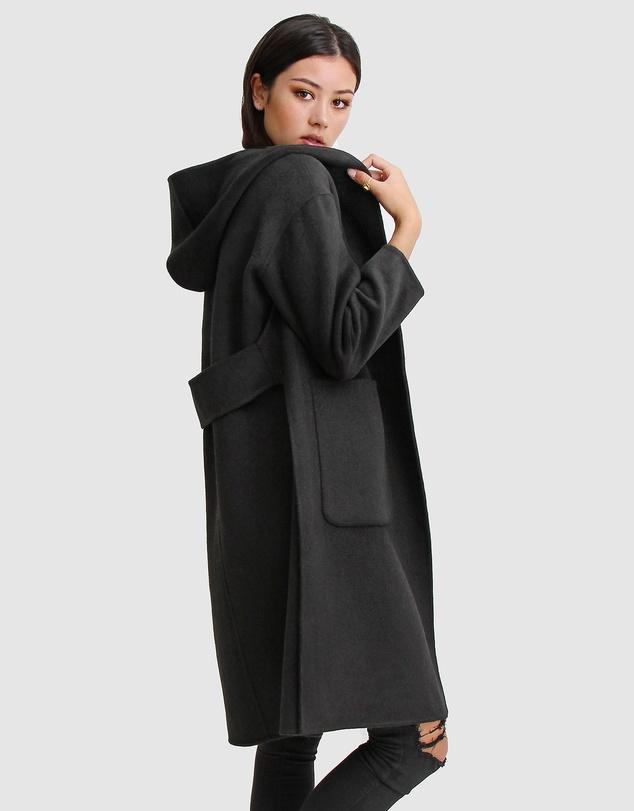 Women Walk This Way Wool Blend Hooded Coat