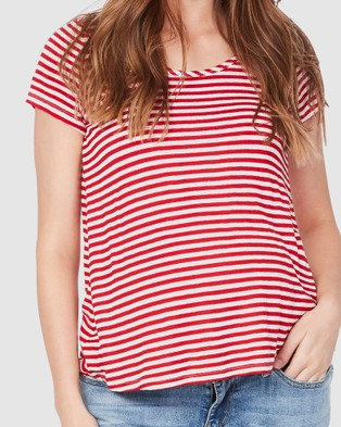 Soon Maternity Perfect Linen Feeding T shirt - T-Shirts & Singlets (Red Stripe)