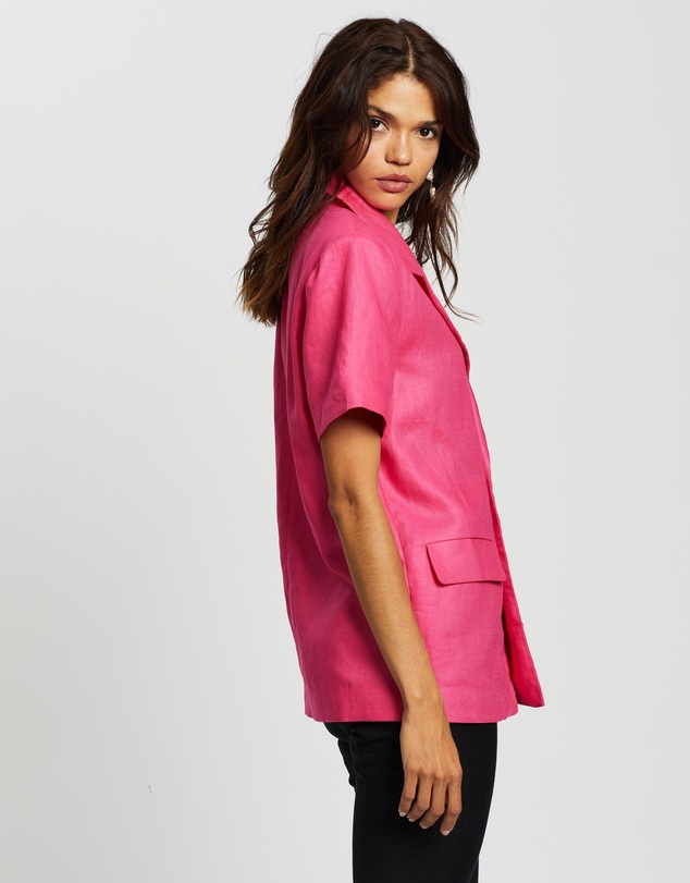 Women Short Sleeve Button-Up Blazer