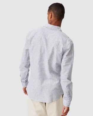 Cotton On Linen Cotton Long Sleeve Shirt - Casual shirts (Navy & White Stripe)