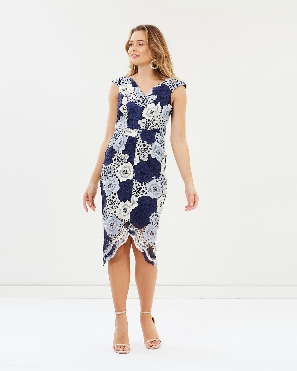 Romance by Honey and Beau Cora Dress Bridesmaid Dresses Blue Print Cora Dress