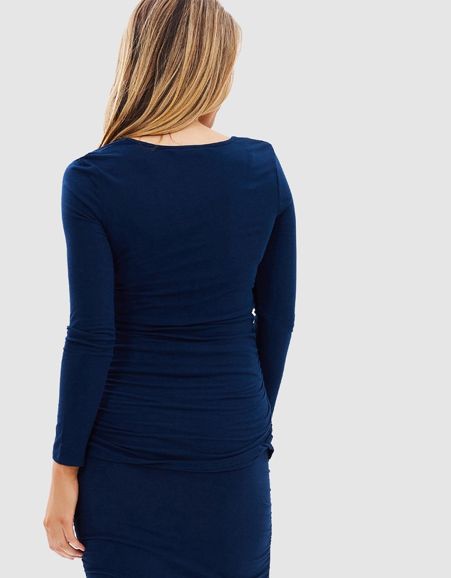 Women Long Sleeve Ruched Tee
