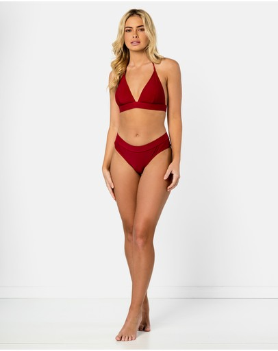 Cali Rae Ios Halter Bikini Top Pomegranate