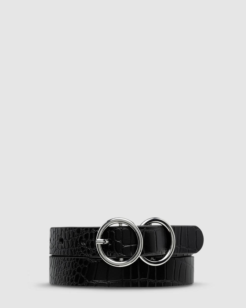 Status Anxiety Mislaid Skinny Belt Belts Black Croc/Silver